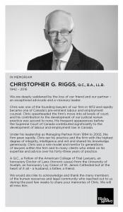 In Memorium - Christopher Riggs